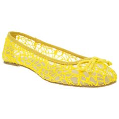 Yellow Timeless Bow Trim Textured Ballerinas ($28) ❤ liked on Polyvore