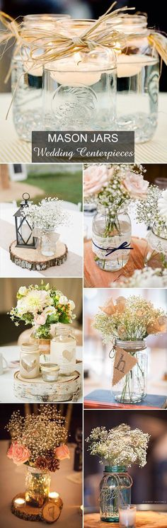 country rustic mason jars inspired wedding centerpieces ideas by Joanne Hewlett