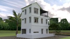 This villa is modeling by SAM-ARCHITECT With 3 stories level. Tiny House Meter House description: Ground Level: -Living room -Dining room -Kitchen -and 1 Restroom First Level: bedroom with balcony bathroom Second Level: bedroom with balcony bathroom. Modern Small House Design, Simple House Design, Narrow House Plans, House Floor Plans, Tiny House Living, My House, Plans Architecture, Bungalow House Design, Home Design Plans