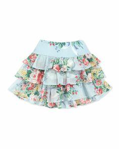 Z15LP Ralph Lauren Childrenswear Floral Ruffle Skirt, Blue, Sizes 4-6X