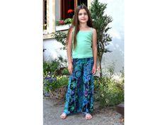 3d80855aed4 Dětské modré zvonové kalhoty s potiskem