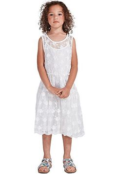 Big Girls Kids White Embroidered Princess Mesh Lace Sleeveless Dress GD4 L >>> Click on the image for additional details.
