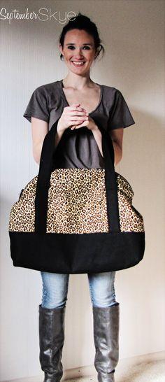 Leopard and Black Weekender - Cheetah Animal Print Handbag - Diaper Bag