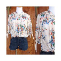 Boho Hippie Blouse Sheer Floral Vintage 70's Top Peasant Blouse Vintage 1970's Tie Sleeve Slouchy Hippy Size Large Large