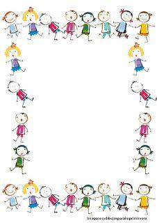 Niños en hoja decorada  Hojas decoradas para escribir
