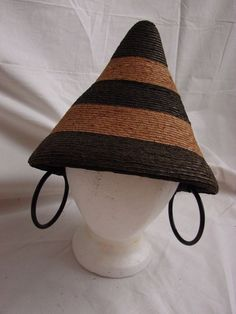 Someone's Amazing EBay posting - Unique Vtg 1950s Italian Conical Raffia Stripe Hat Faux Earrings Black Bakelite - VERY I LOVE LUCY in ITALY