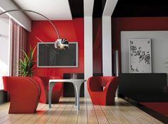 salon minimalista rojo