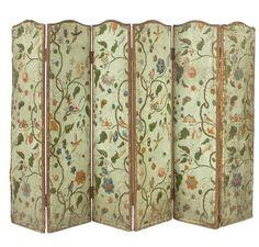 Folding screen in six leaves, in painted cloth.  Paravent à six feuilles, en toile peinte, XVIIIe siècle