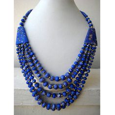 Statement Necklace Blue/Multi Strand Necklace/Chunky by FootSoles, $27.10