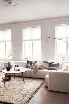 Homes: Danish: Different tones of white in the living interior decorators house design design office design interior design My Living Room, Home And Living, Living Room Decor, Living Spaces, Cozy Living, Modern Living, Danish Living Room, Danish Bedroom, Living Area