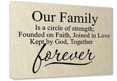 "FRAMED CANVAS PRINT (Textured Look) Our Family is a circle of strength; founded on faith, joined in love kept by God, together forever (16""x12"") printed wall art plaque home decor sayings quotes"