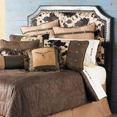 rustic cowboy headboard | ... rustic nailheads on the Cowhide Full Headboard. Includes 24 removable