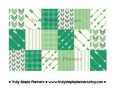 Green Aztek Weekly Squares For Erin Condren by TrulySimplePlanners