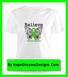 Lymphoma Believe Ribbon shirts, apparel and gifts with a decorative butterfly by hopedreamsdesigns.com