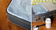 modge podge fabric on old suitcase...love it