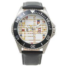 #simple - #Custom Stainless Steel Black Leather Wristwatch