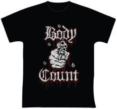 """Body Count  R$ 35,00 + frete Todas as cores Personalizamos e estampamos a sua ideia: imagem, frase ou logo preferido. Arte final. Telas sob encomenda. Estampas de/em camisas masculinas e femininas (e outros materiais). Fornecemos as camisas ou estampamos a sua própria. Envie a sua ideia ou escolha uma das """"nossas"""".... Blog: http://knupsilk.blogspot.com.br/ Pagina facebook: https://www.facebook.com/pages/KnupSilk-EstampariaSerigrafia/827832813899935?pnref=lhc https://twitter.com/KnupSilk"""