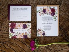 Marsala Blush Wedding Invitation / http://www.deerpearlflowers.com/burgundy-and-blush-fall-wedding-ideas/2/