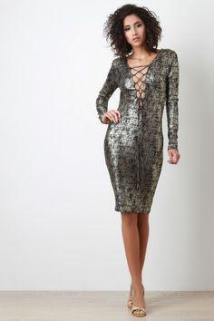 Metallic Lace Up Midi Dress