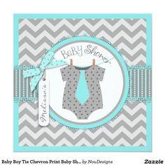 Baby Boy Tie Chevron Print Baby Shower