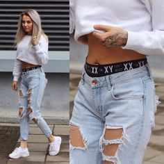 Get this look: http://lb.nu/look/8168485 More looks by Eeva K.: http://lb.nu/eevaroots Items in this look: Junkyard Xx Xy Boxers, Miss Pap Desthy Trainers, Fiorella Basic Sweater #casual #sporty #street #rippeddenim #fresh #streetstyle