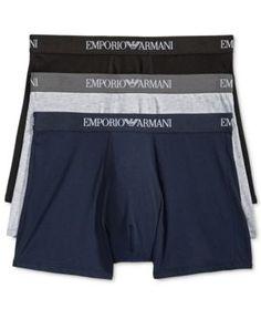Emporio Armani Men's 3 Pack Boxer Briefs - Blue XL