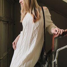 Elegant Coat Long Knit Cardigan Pepita with Zipper S M L
