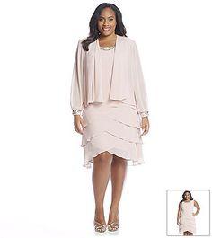ccb57be636 S.L. Fashions Plus Size Beaded Jacket Shutter Dress