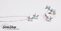 Set cercei și inel swarovski cu bază din argint 925! #simoshop #bijuterii #accesorii #argint #swarovskicrystals #swarovski Swarovski, Enamel, Vitreous Enamel, Enamels, Tooth Enamel, Glaze