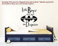 Little Boys Are Just SUPERHEROES Wall Decals Quote Decal Kids Nursery Vinyl Stickers Home Bedroom Decor Playroom Art T48 ** Click image to review more details. (Note:Amazon affiliate link)