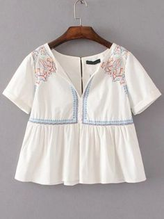 White Embroidery Detail Babydoll Blouse