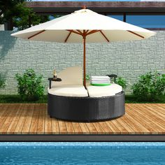 Canopy Outdoor Daybed ♥ oh my. I Love it, I want this for my pool! Patio Daybed, Outdoor Daybed, Outdoor Seating, Outdoor Decor, Outdoor Loungers, Outdoor Chairs, Pool Furniture, Outdoor Furniture, Space Furniture