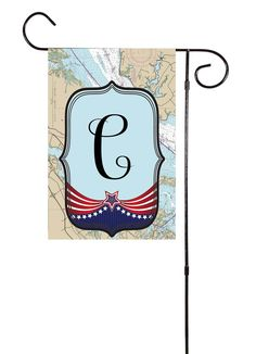 USA - Initial Nautical Garden Flag