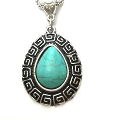 Natural turquoise teardrop necklace Natural turquoise teardrop necklace 18 inch chain Jewelry Necklaces