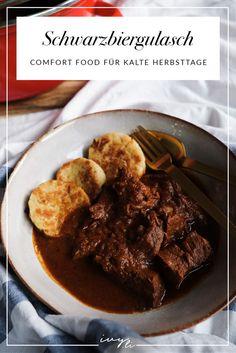 Schwarzbiergulasch | Gulasch mit Schwarzbier | Schmorgericht | Herbstgericht | Comfort Food für kalte Herbsttage | Rezept | ivy.li