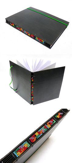 sketchbook com encadernação copta e ponto cruz, no Canteiro de Alfaces