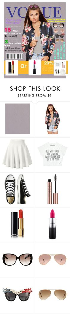 """""""Vogue magazine cover (my own design)"""" by cutiepug ❤ liked on Polyvore featuring beauty, WearAll, Converse, MAC Cosmetics, Gucci, Ray-Ban and Anna-Karin Karlsson"""