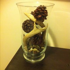 Natural Decor, mix of rocks, pine cones and stole my mans antlers that he uses for hunting:)