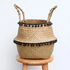 Zigzag Seagrass Set 3 Wicker Storage Baskets for Home Organization and Decor Straw Wire Woven Baskets for Kitchen Closet Wicker Baskets for Shelves with Insert Handles Pantry