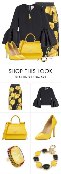 """Bumblebee Kinda Day"" by lmm2nd ❤ liked on Polyvore featuring Dolce&Gabbana, Roksanda, Charles by Charles David, Elizabeth Cole, 1st & Gorgeous by Carolee and Effy Jewelry"