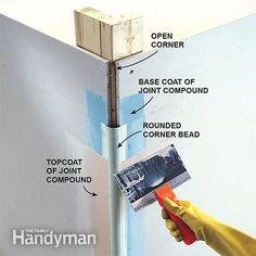 Mudding rounded drywall corners.