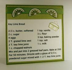 Key Lime Bread recipe card