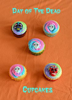 Make these fun and colorful Sugar Skull Cupcakes for the Day of the Dead