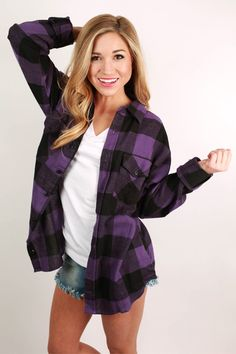 This classic flannel button down is the perfect addition to your fall wardrobe! It looks perfect with shorts and sandals!