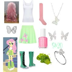 """Fluttershy Equestria Girls"" by silvermist20 on Polyvore"
