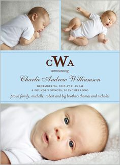 Monogram Memories Boy Birth Announcement