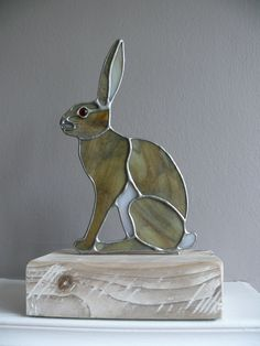 Brown Hare on Wooden Block