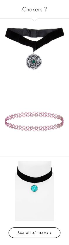 """""""Chokers """" by nanaforevermore ❤ liked on Polyvore featuring jewelry, necklaces, accessories, chokers, pentagram necklace, choker necklace, choker jewelry, pentagram jewelry, pink and plastic necklace"""