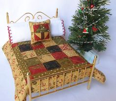 Dollhouse Miniature Christmas Quilt Set in by TheLittleQuiltShoppe, $49.00