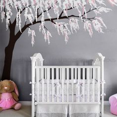 Weeping Willow Tree Decal for your baby nursery. Subtle weeping willows and cherry blossoms in a tree wall decal. Weeping Willow Tree Decal with Cherry Blossoms, Baby Girls Nursery Wall Decal, Willow Tree Wall Decal, Nursery Decoration Nursery Room, Nursery Wall Art, Girl Nursery, Girl Room, Kids Bedroom, Tree Decal Nursery, Kids Rooms, Nursery Ideas, Nursery Decor